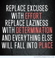 Replace excuses with effort replace laziness with determination and everything else will fall into place - http://www.loveoflifequotes.com/?p=15287
