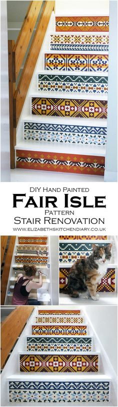Jazz up some old stairs with some Fair Isle knitwear patterns and acrylic paints! DIY tutorial from Elizabeth's Kitchen Diary.