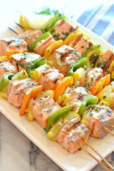 How to make homemade marinade recipes? By My General Store - [ - Salad Recipes Healthy Kabob Recipes, Barbecue Recipes, Grilling Recipes, Fish Recipes, Cooking Recipes, Healthy Recipes, Seafood Dishes, Salmon Recipes, Love Food