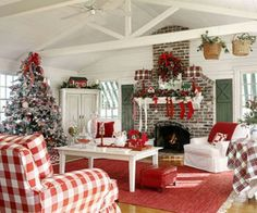 Cozy Christmas living room with lots of red & white and plaid...