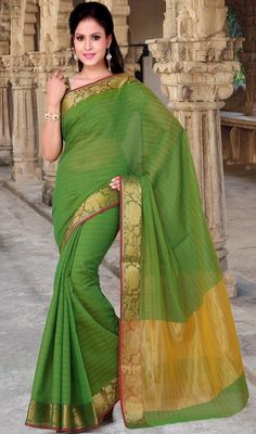 Bedecked in this lime green color shade cotton saree. This desirable attire is displaying some extraordinary embroidery done with self work. Upon request we can make round front/back neck and short 6 inches sleeves regular sari blouse also. #PrettyParrotGreenCottonSari