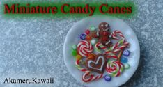 Miniature Candy cane, Christmas sweets and gumdrops - 1:12 scale polymer...