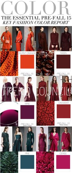 #Farbbberatung #Stilberatung #Farbenreich mit www.farben-reich.com TREND COUNCIL: COLOR - The Essential Pre-Fall '15 Key Fashion Color Report