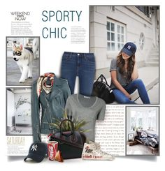 """""""Sporty Chic"""" by thewondersoffashion ❤ liked on Polyvore featuring L'Agence, 3.1 Phillip Lim, '47 Brand, T By Alexander Wang, Givenchy, Alexander McQueen and Golden Goose"""