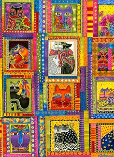 FAbulous felines fabric panel by Laurel Burch. If you love cats and don't know Laurel Burch. Dog Quilts, Cat Quilt, Cat Fabric, Fabric Art, Burch Fabrics, Gatos Cats, Ecole Art, Super Cat, Cat Crafts