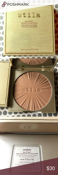 Stay All Day Bronzer For Face & Body (MEDIUM) NEW! UNUSED!  AUTHENTIC!  Stila Stay All Day Bronzer For Face & Body (MEDIUM) Perfect complement to all skin tones, Stay All Day Body Contouring Bronzer is a lightweight, matte-satin powder that is ideal for accenting the face and body to perfection. Features are sculpted and shaped with long-wearing pigments that blend effortlessly for a natural-looking result. Sun-kissed, bronze hue adds a touch of sun for a healthy glow all year round.  Poids…