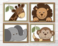 Safari Jungle Animal Nursery Wall Art by LittlePrintsParties