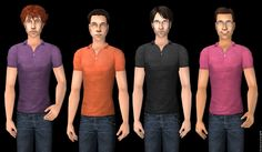 """Mod The Sims - Tight """"Untucked"""" Polos in Cheerful Summer Colours. And Broody Black."""