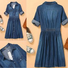 Women Casual Blue 3 4 Foldable Sleeve Denim Shirt Dress Button Front Knee Length | eBay