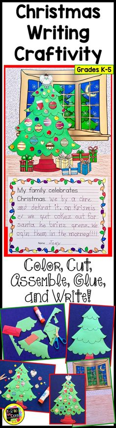 This engaging, differentiated Christmas project will have your kindergarten, first, second, third, fourth or fifth grade students exercising their narrative writing skills as well as their fine motor muscles and visual/perceptual skills. All this as the children cut, assemble, and glue a Christmas tree Scene; and then write about what they'll be doing during the holiday! This resource has multiple levels for writing and is flexible enough for any grade K-5. Click for details! #Christmas…