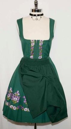 GREEN~COTTON German Women Trachten EMBROIDERY Oktoberfest DIRNDL Party Dress 8 S   eBay