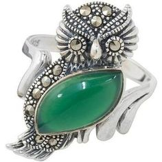 NOVICA Chalcedony and Marcasite Cocktail Ring with Owl Motif