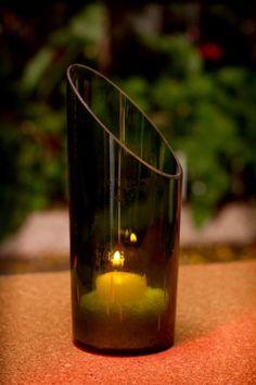 Porta velas de botella reutilizada