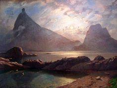 Knud Baade (1808-1879):  Soleil de minuit sur l'île d'Hestman en Norvège