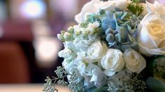 bouquet with antique blue hydrangeas and roses  This bouquet was from Our behind the scenes video for Alabama weddings magazine.