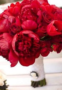 love red peonies.. wedding flower bouquet, bridal bouquet, wedding flowers, add pic source on comment and we will update it. www.myfloweraffair.com can create this beautiful wedding flower look.