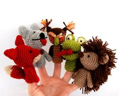 These finger puppets are so cute and have such personality!  5 finger puppet crocheted hedgehog owl fox wolf snake by crochAndi, $30.00