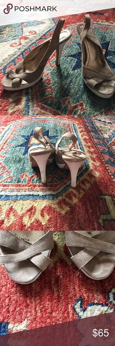 Daslu suede open toe sling back Beautiful light platform. Two tone of taupe and white looks great. High end brand from Brazil. Marked Anthropologie for exposure. Light wear throughout but tons of life left. Listed 2/11/17 Anthropologie Shoes Heels