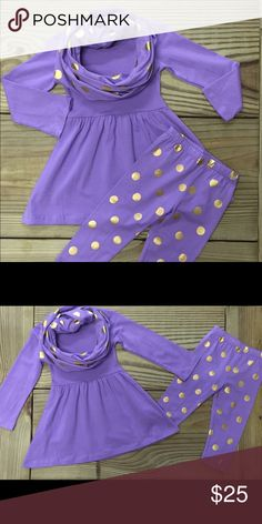 """Girls Purple Gold Dot Infinity Scarf Outfit Our NWT 3 piece little girls lavender and gold polka dot infinity scarf set includes the tunic top, leggings, and matching scarf. Made of 100% Cotton and 97% Spandex, this adorable outfit is super comfy and warm for fall and winter! It's the perfect """"back to school"""" outfit! Sizes available from XS 12-18M to XXL 6-7 Years. Fast Shipping Moxie Girl Other"""