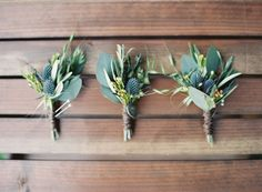 boutonnieres - photo by Sposto Photography http://ruffledblog.com/redwoods-forest-wedding-at-fern-river