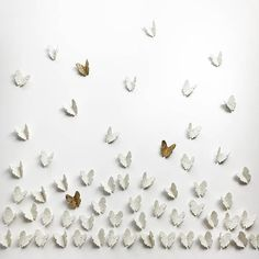 Extra large wall art set 3D Butterfly wall art 60 White porcelain handmade ceramic gold finish brass metal wire butterflies Original artwork