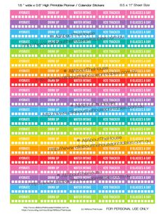 """Hydrate Printable Calendar Planner Stickers Water Intake Tracker 1.5"""" wide x 0.5"""" Rainbow 2015 Planner Accessory Erin Condren ECLP ect OL090 https://www.etsy.com/au/listing/275263538/hydrate-printable-calendar-planner?ref=shop_home_active_20"""