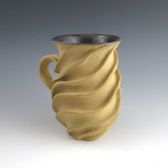 Carved Sculptural Ceramic Mug Naked Tan by jtceramics on Etsy, $70.00 SOLD