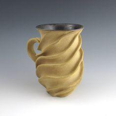 Carved Sculptural Ceramic Mug Naked Tan by jtceramics on Etsy, $70.00 SOLD