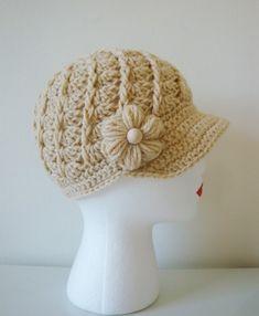 Twirl Cap in Oatmeal by DaisyEzyCraft - #crochet hat pattern for sale on Etsy