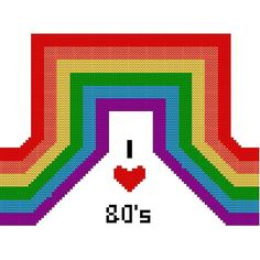 I Heart the 80s Rainbow Custom Cross by oneofakindbabydesign, $5.00 #etsy #crossstitch #dteam #onfireteam