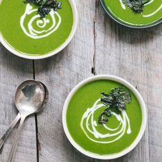 Vibrant Kale and Potato Soup with Salt and Vinegar Crispy Kale   foodgawker.com