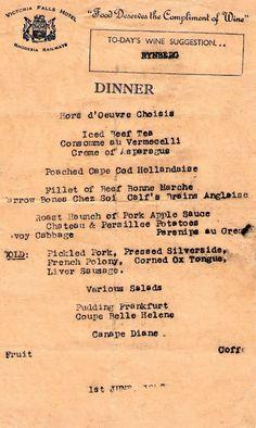Our Rhodesian Heritage: Victoria Falls Hotel Menu's 1948 Hotel Menu, Hotel Food, Zimbabwe History, Vintage Menu, Wedding Vintage, Chefs, Wedding Catering, Wedding Menu, Wedding Ideas
