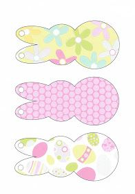 Printable: Easter Garland...these bunnies have 9 different patterns. Easter clipart ideas