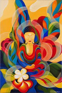multicolored Buddha  www.aspenyogamats.com