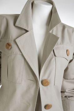 - 90's Yves Saint Laurent Khaki Safari Style Jacket