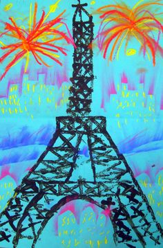 "Cassie Stephens: In the Art Room: Printed Paris: Another Pinner said: ""I remember doing this activity years and years ago using iconic buildings from around the world. Spring Art, Summer Art, France Craft, Eiffel Tower Art, 2nd Grade Art, Grade 3, World Crafts, Thinking Day, Art Lessons Elementary"