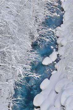 Hokkaido, Japan Blue River in January by Kent Shiraishi on I Love Winter, Winter Is Coming, Winter Snow, Snow Scenes, Winter Scenes, What A Wonderful World, Beautiful World, Totoro, Studio Ghibli