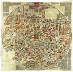 Un grand classique de la cartographie ancienne, la Carte d'Ebstorf est une immense mappa mundi médiévale. vision décalée d'un territoire existant. La géographie circulaire se calque sur le corps du Christ : pieds en bas, tête en haut. C'est la vision catholique médiévale du monde où se mêle ce que nous distinguons aujourd'hui comme relevant de la théologie, de l'histoire et ou de la géographie. En cela, cette carte cherche à nous transmettre une symbolique hitorico-religieuse.