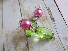 Lime Green Earrings Pink Earrings Pearl by BrownBeaverBeadery, $10.00