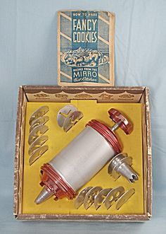 Mirro - Cookie Press, Copper Ends – With Plates & Tips – Original Box