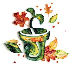 Green Bud in Pot Quilling Decoration Paper DIY Kit