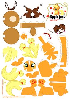 THIS IS THE ONE TO CLICK ON TO GET ALL THE CUT OUTS FOR HALLIE'S PARTY!!        Applejack Papercraft by *Kna on deviantART