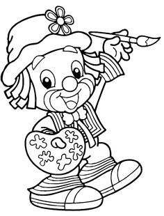 Pattern Coloring Pages, Coloring Book Pages, Coloring Sheets, Alex Craft, Clown Crafts, Precious Moments Coloring Pages, Clowns, Cute Clown, Silly Faces