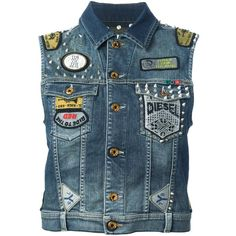 DIESEL denim waistcoat (£315) ❤ liked on Polyvore featuring outerwear, vests, jackets, band merch, chaleco, diesel vest, vest waistcoat, blue vest, waistcoat vest and blue denim vest