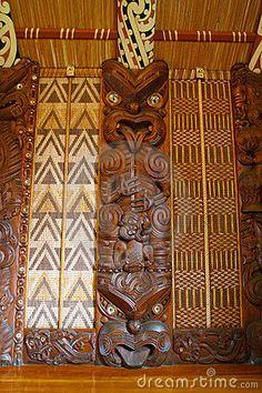 Photo about Maori wall carvings in a Marae (meeting house). Image of house, wooden, thatched - 2148108 Maori Face Tattoo, Tiki Totem, Tiki Tiki, Maori Symbols, Maori Patterns, Polynesian Art, Maori Designs, Nz Art, Maori Art