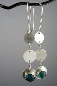 Undulate Earrings: Silver and green kyanite earrings, by slathered on Etsy.  SOLD.
