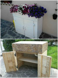 Original  Fioriera Porta Attrezzi / Pallet Planter Toolbox  #garden #palletplanter #recyclingwoodpallets Garden planter entirelymade with pieces from salvaged wooden pallets, old planks and wooden shutters roller furling.   Completamente fatto con pe...