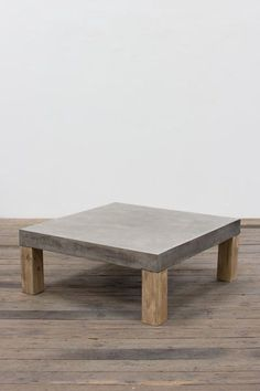 Square Concrete Coffee Table With Wooden Legs