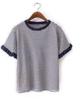 Navy Ruffle Cuff Short Sleeve Stripe T-shirt -SheIn(abaday)