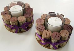 DIY Wine Cork Candle Holder - save the corks from your wedding Wine Craft, Wine Cork Crafts, Wine Bottle Crafts, Champagne Cork Crafts, Champagne Bottles, Wine Cork Projects, Diy Projects, Sewing Projects, Wine Cork Candle